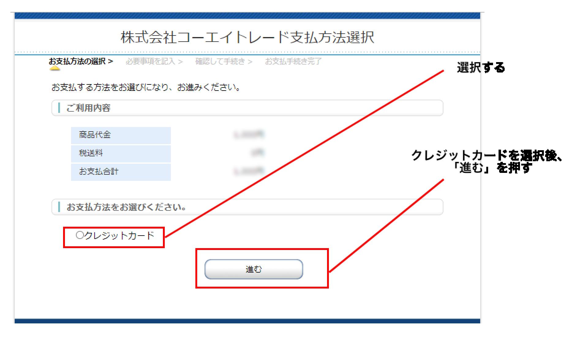 支払い方法選択画面の「クレジットカード」を選択した後、「進む」ボタンを押す